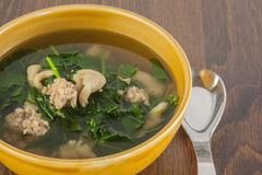 Vegetable Soup. Soup ingredient are minced pork ,mushroom and gourd vegetable Royalty Free Stock Photos