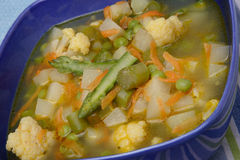 Vegetable soup. Fresh vegetable soup on plate Royalty Free Stock Images