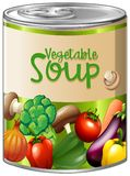Vegetable soup in aluminum can. Illustration Royalty Free Stock Images