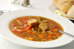 Vegetable soup with barley Stock Photos