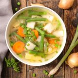 Vegetable soup with bean stock image