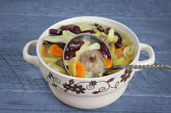 Vegetable soup with beans and mushrooms Stock Photo