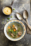 Vegetable soup with beef Stock Photography