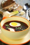 Vegetable soup with beet. Stock Photos