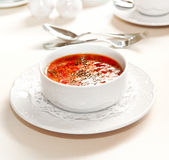 Vegetable soup. With beet, tomatoes and onion Royalty Free Stock Images