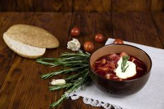 Vegetable soup with beets, rustic style, selective focus.  Stock Image
