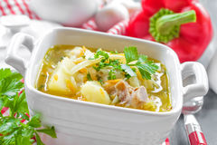 Vegetable soup. In a bowl on a table Royalty Free Stock Photography