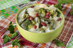 Vegetable soup of  broccoli, cabbage, cauliflower, beans and cre Royalty Free Stock Photo