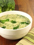 Vegetable soup with broccoli, closeup Royalty Free Stock Photo