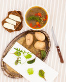 Vegetable soup with brown bread Royalty Free Stock Images