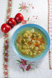 Vegetable soup. Vegetable soup with brussels and carrots Royalty Free Stock Images