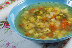 Vegetable soup. Vegetable soup with brussels and carrots Stock Photo