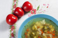 Vegetable soup. Vegetable soup with brussels and carrots Stock Photos