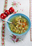 Vegetable soup. Vegetable soup with brussels and cauliflower Stock Photography