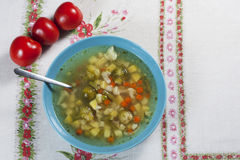 Vegetable soup. Vegetable soup with brussels and cauliflower Stock Image