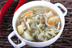 Vegetable soup with cabbage, potatoes and carrot Stock Photos