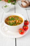 Vegetable soup from cabbage with tomatos Stock Image