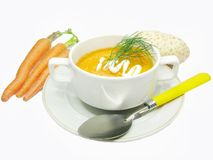 Vegetable soup with carrot Stock Photos