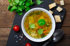 Vegetable Soup with Carrot, Bell Pepper, Potato, Leek and Herbs, Bowls of Healthy Vegetarian Soup stock photography