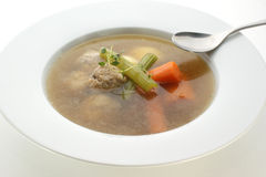 Vegetable soup with carrot, celery and meat balls Royalty Free Stock Image