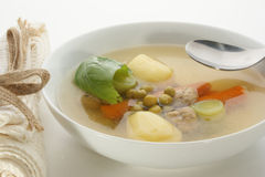 Vegetable soup with carrot and meat balls Royalty Free Stock Photography
