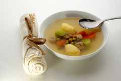 Vegetable soup with carrot and meat balls Royalty Free Stock Photos