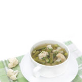 Vegetable soup with cauliflower, green beans and green peas Royalty Free Stock Images