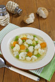 Vegetable soup with cauliflower and green peas Royalty Free Stock Photography