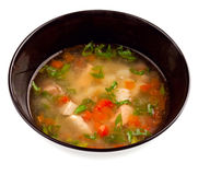 Vegetable soup with chicken stock photos