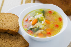 Vegetable soup with chicken breast Stock Image