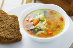 Vegetable soup with chicken breast Stock Photos