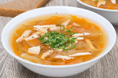 Vegetable soup with chicken, close-up Stock Photos
