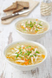 Vegetable soup with chicken and parsley Stock Images