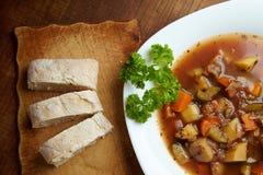 Vegetable soup with ciabatta Stock Photos
