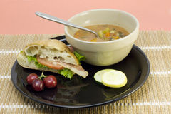 Vegetable soup with ciabatta Stock Images
