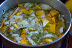 Vegetable soup cooking in a big pan Stock Photography
