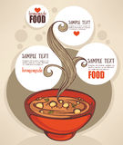 Vegetable soup. Design template. Homemade food menu background Stock Images