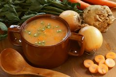 Vegetable soup. Detail of vegetable soup in pot and fresh food ingredients Royalty Free Stock Images