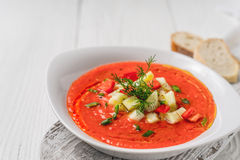 Vegetable soup gazpacho, stand, bread slices on white boards Stock Photos