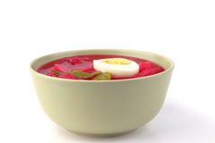 Vegetable soup in green bowl Royalty Free Stock Photo