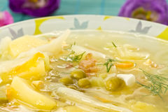 Vegetable soup with green peas Royalty Free Stock Photo