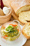 Vegetable soup with green peas Royalty Free Stock Photography