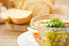 Vegetable soup with green peas Stock Image