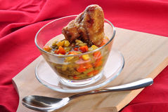 Vegetable soup with grilled chicken wing Royalty Free Stock Photos