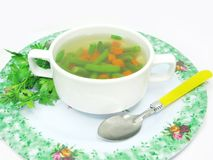 Vegetable soup with haricot bean Stock Photos