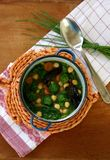 Vegetable soup. Healthy soup with broccoli, cabbage, spinach, chickpeas and brussels sprout Royalty Free Stock Image
