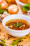 Vegetable soup with herbs and spices in white plate. On wooden board Stock Image