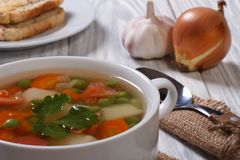 Vegetable soup with ingredients Royalty Free Stock Image