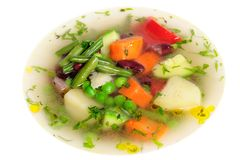 Vegetable soup isolated Royalty Free Stock Images