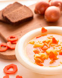 Vegetable soup with Italian pasta. Stock Photo